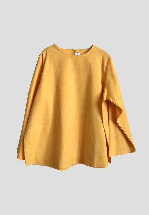 27077ec702db44 SIMPLE LINEN BOXY TOPS IN YELLOW