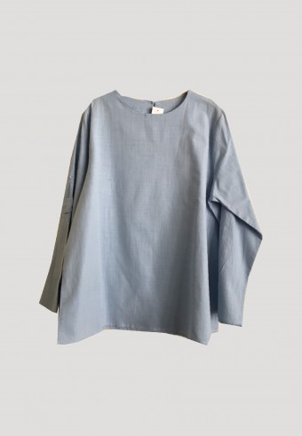 SIMPLE LINEN BOXY TOPS IN BLUE