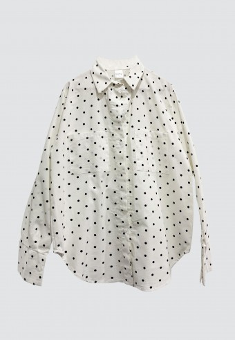 DOUBLE POCKET POLKA TOP IN WHITE